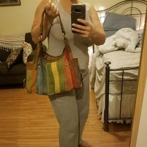 Fossil Leather And Suede Multi Colored Handbag